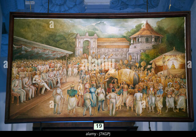 Kandy Sri Lanka Temple of the Sacred Tooth Sri Dalada Museum Painting Of The History Of The Tooth Relic - A prolonged - Stock Image