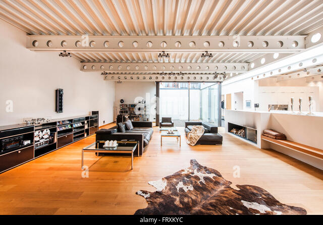 Living Room Inside Bauhaus Villa Stock Photos & Living Room Inside