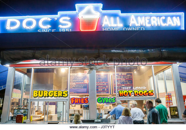 American Diner With Neon Lights Stock Photos Amp American