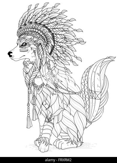 indian and wolf coloring pages - photo#5