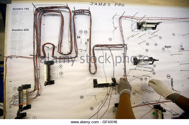 wiring diagram stock photos wiring diagram stock images alamy a worker follows a harness diagram to map out the wiring used to assemble a pinball