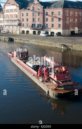 River Bank Repair : Barge on river stock photos images