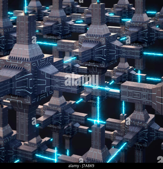 Futuristic energy network, 3d rendering - Stock Image