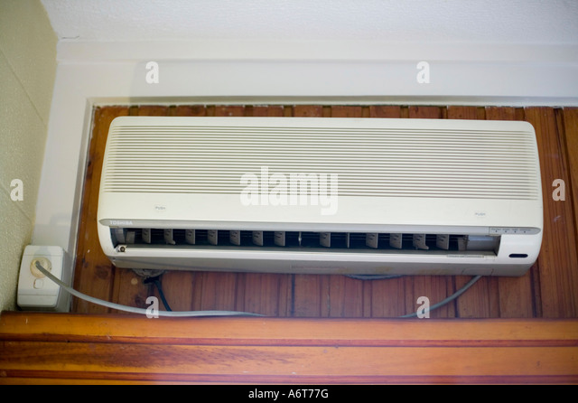 Air Conditioning Unit In A Hotel Bedroom On Fiji   Stock Image