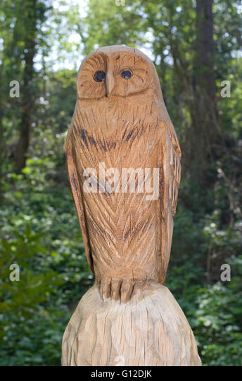 Wooden owl carving stock photos