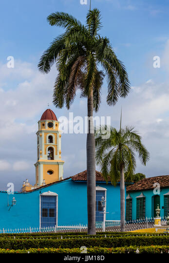 The bell tower of the  MUSEO NACIONAL DE LA LUCHA CONTRA BANDIDOS from the PLAZA MAYOR - TRINIDAD, CUBA - Stock Image