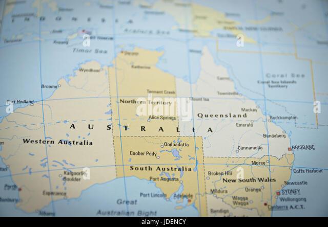 Tourist map australia stock photos tourist map australia stock australia in close up on the map focus on the name of country gumiabroncs Images
