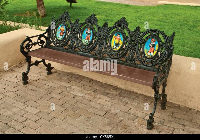 wrought iron bench around tree seat gumtree plaza