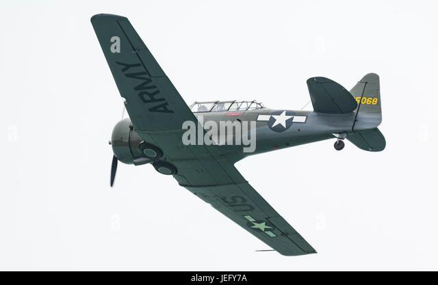 T-6 Texan. North American Aviation T-6 Texan advanced training single propeller military aircraft. - Stock Image