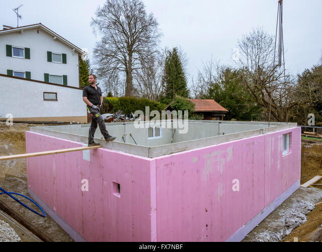 Construction prefabricated concrete builders stock photos for Prefabricated basement walls