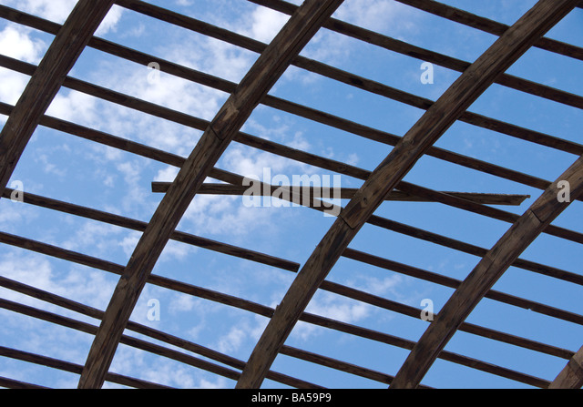 Trellised Roof Frame In The Courtyard Of The Old Fort At Aqaba   Stock Image