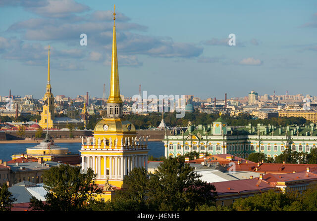 Overview of the Winter Palace, the Admiralty, and the St. Peter and Paul Fortress, St. Petersburg, Russia - Stock Image