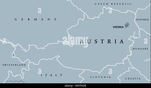 Political Map Austria Capital Vienna Stock Photos Political Map - Austria political map