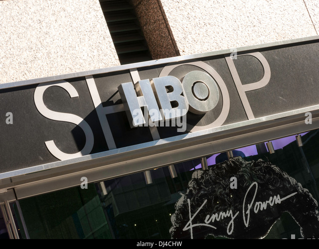 HBO Gift Shop Sign, Front Entrance, 6th Avenue, NYC   Stock Image