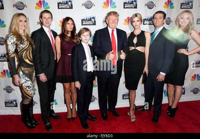 Lara Yunaska, Eric Trump, Melania Trump, Barron Trump, Donald Trump, Ivanka Trump, Donald Trump Jr. and Tiffany - Stock Image