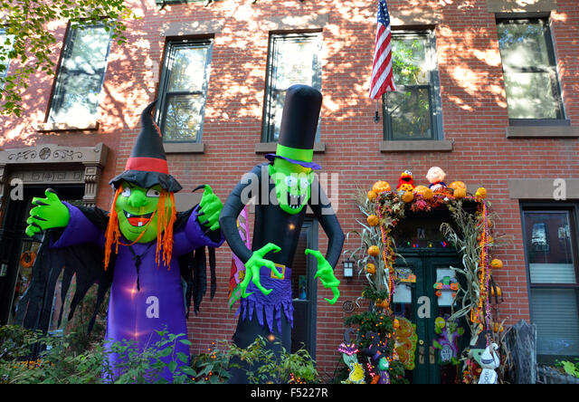 halloween decorations brooklyn park slope new york pumpkins for sale outside shop stock image