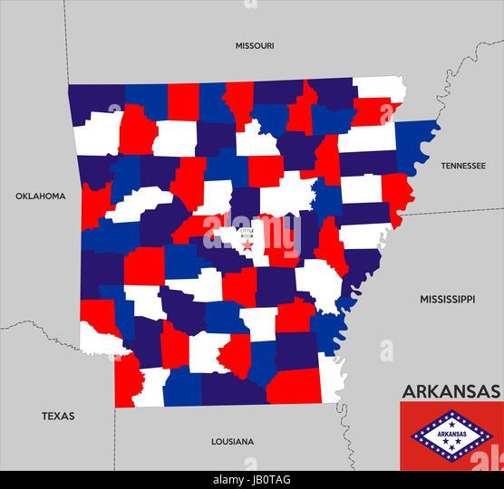 Political Map Of Arkansas Stock Photos Political Map Of Arkansas - Political map of arkansas