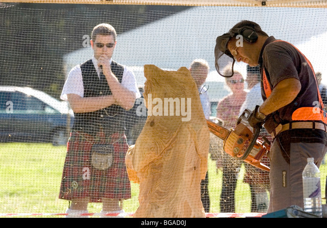 Scottish carved wooden stock photos