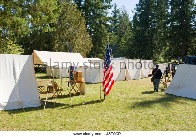 Northern military c& with white canvas tents at Civil War Reenactment Milo McIver State Park & Tents Civil War Camp Reenactment Stock Photos u0026 Tents Civil War ...
