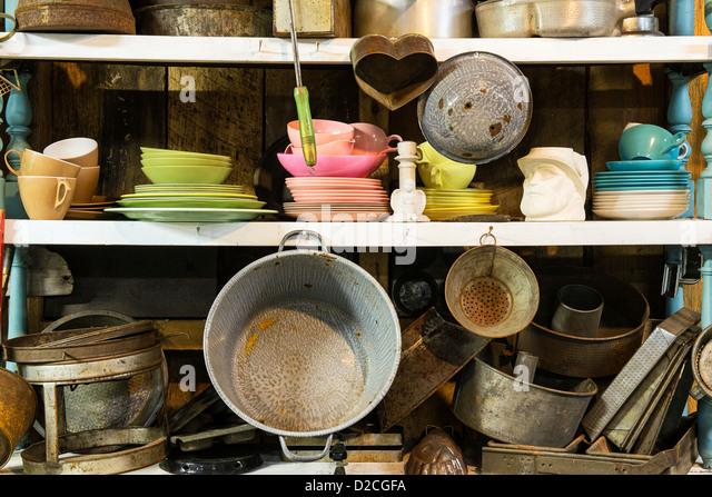 thrift shop kitchen items stock image: kitchen items store