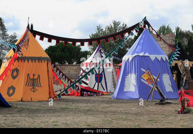 medieval military c& with several tents on Alcala de Henares - Stock Image & Medieval Tournament Tents Stock Photos u0026 Medieval Tournament Tents ...