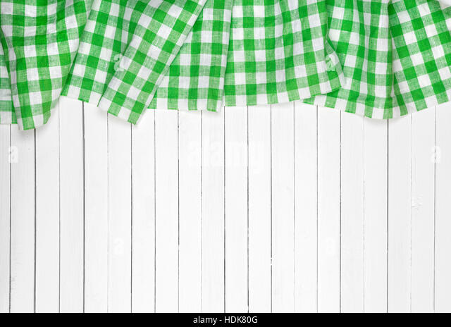 Green Checkered Tablecloth On Wooden Table, Top View   Stock Image
