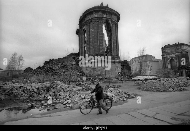 Dresden in what was then East Germany November 1989 The streets of Dresden, Saxony, in former East Germany photographed - Stock Image