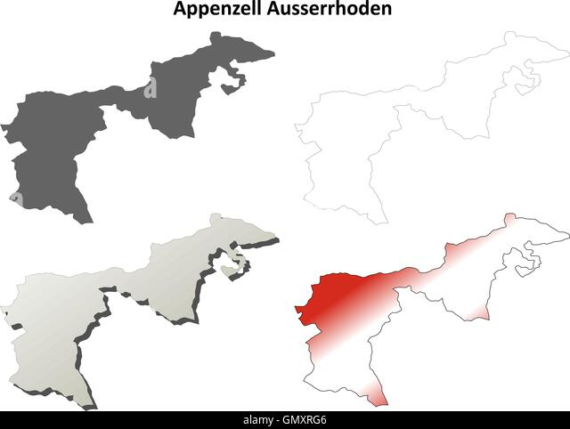 appenzell ausserrhoden blank detailed outline map set stock image