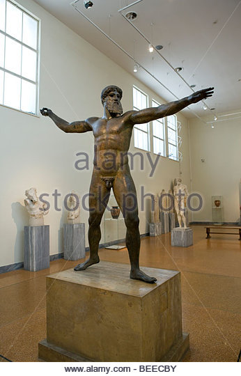 Bronze statue of zeus or poseidon national archaeological museum athens greece stock photo - Poseidon statue greece ...
