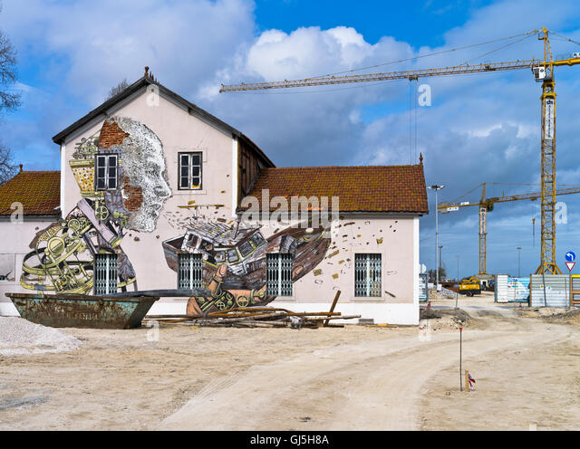 Paintings on side wall of the building stock photos for Construction site wall mural