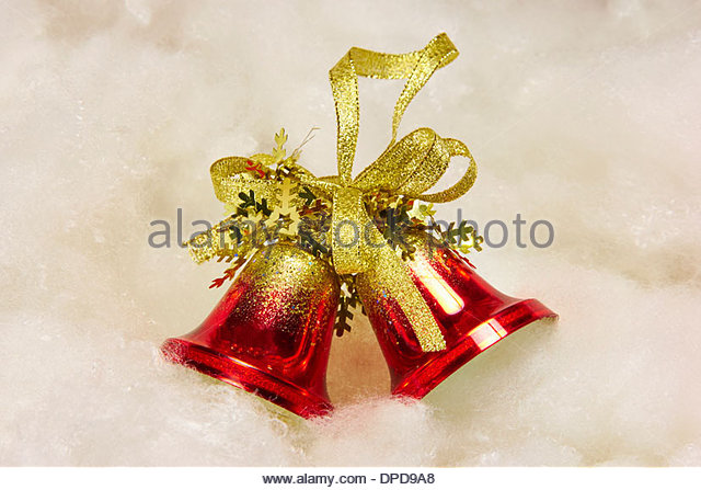 red christmas bells decorations stock image