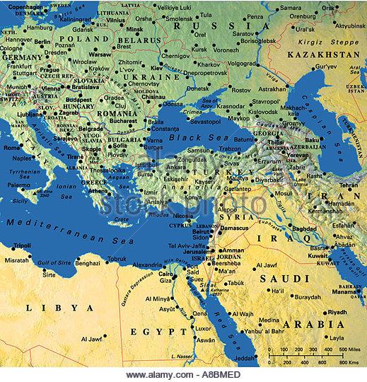 Map Maps Europe Middle East Saudi Arabia Stock Image