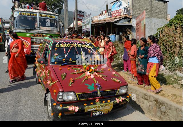 Nepal wedding stock photos nepal wedding stock images alamy decorated car for wedding pokhara valley nepal stock image junglespirit Image collections