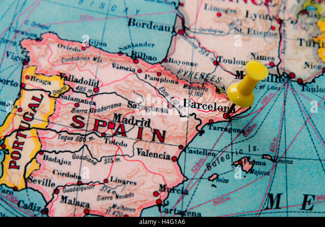Barcelona On Map Stock Photos Barcelona On Map Stock Images Alamy - Barcelona map of europe