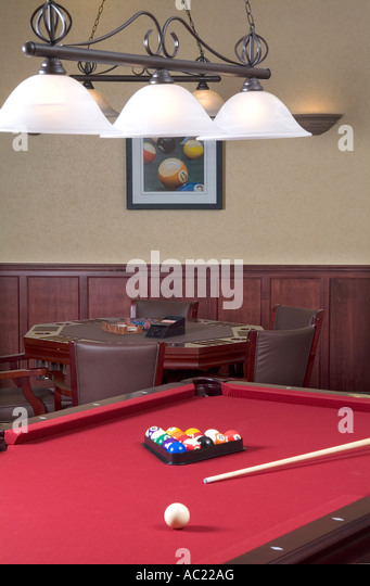 Billiard Pool Table With Red Felt With Poker Card Table, USA   Stock Image