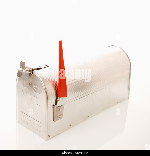 Shiny Silver Metal Mailbox Flag Stock Photos Shiny Silver Metal