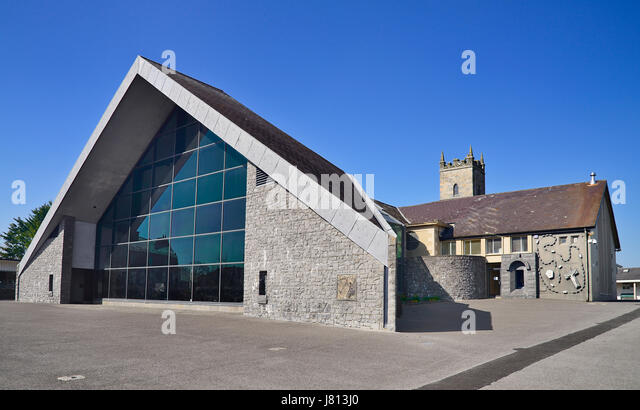 Ireland, County Mayo, Knock Shrine, Apparition Chapel with modern glass extension. - Stock Image