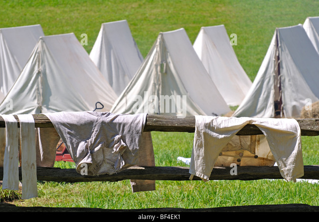 Old pants drying on fence in military tent c& - costumed American Revolutionary War (1770u0027s & Drying Tent Stock Photos u0026 Drying Tent Stock Images - Alamy