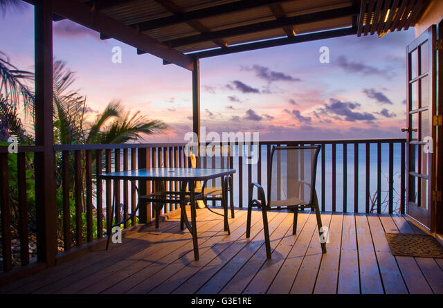 Balcony veranda sea ocean stock photos balcony veranda for Balcony overlooking ocean