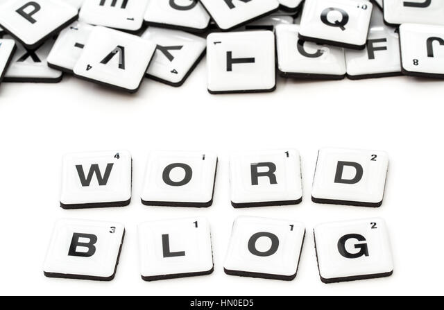 the word blog created from alphabet shaped squares or scrabble tiles on an isolated white background