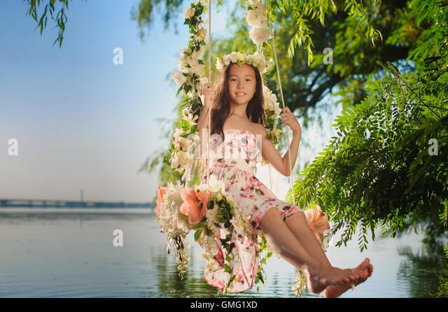 girl on swing above - photo #30