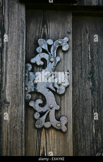 Historic ornate door hinge isolated on the wooden door of a historic church in Iceland & Church Door Hinge Stock Photos u0026 Church Door Hinge Stock Images ... pezcame.com