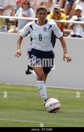 mia hamm of the united states in action during an international soccer friendly against mexico