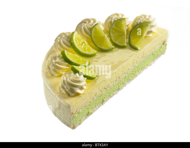 half of a lemon and lime mousse gateaux - Stock Image