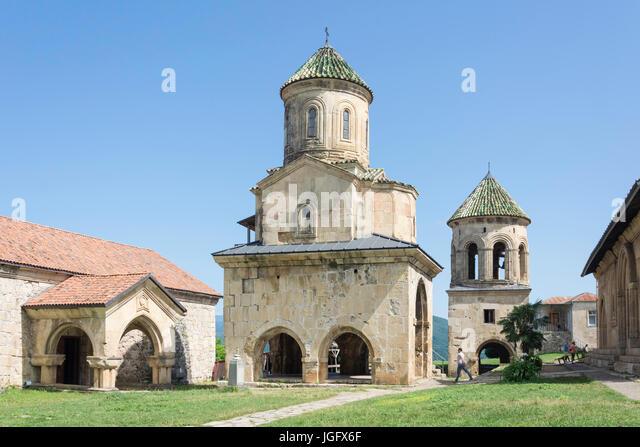 St. Nicholas Church and Belfry, Gelati Monastery, Kutaisi, Imereti Province (Mkhare), Georgia - Stock Image