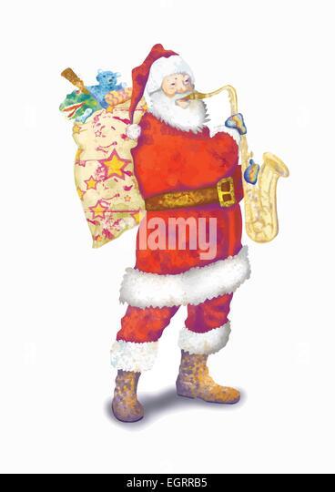 Christmas celebrations topic santa claus sax player stock image