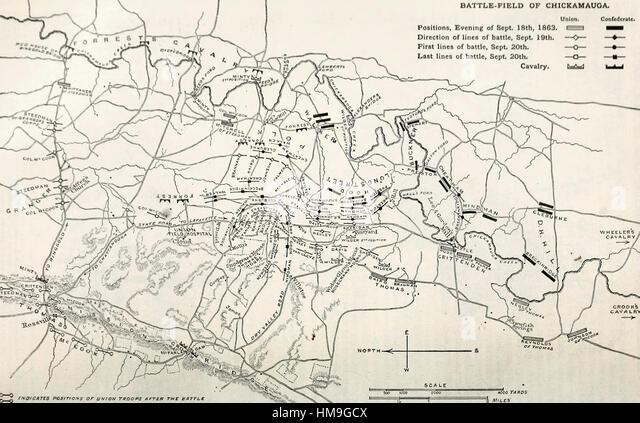 Battle Of Chickamauga Stock Photos Battle Of Chickamauga Stock - Battle of chickamauga map
