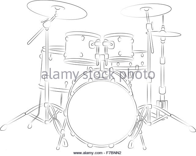 Vector Illustration Bass Drum Musical Stock Photos