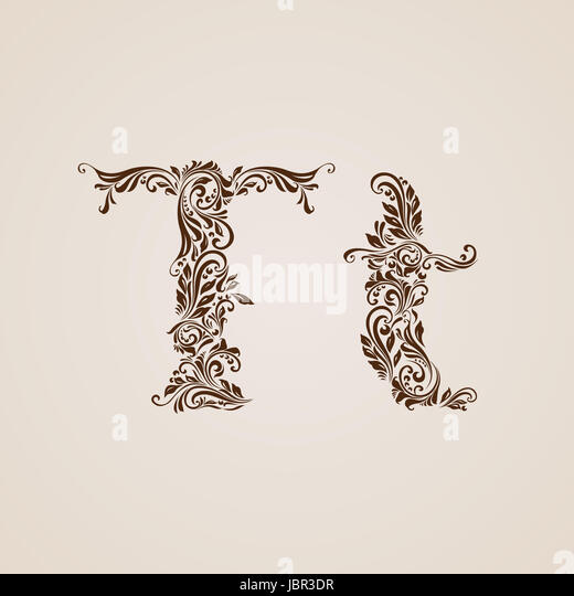 Handsomely Decorated Letter T In Upper And Lower Case