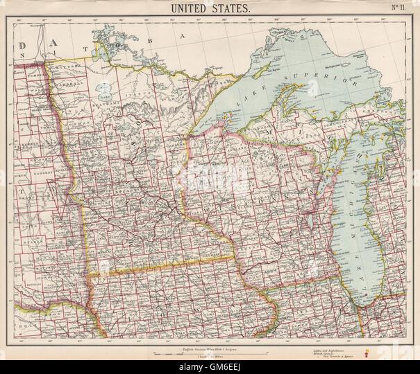 Minnesota Railroads Stock Photos Minnesota Railroads Stock - 1889 us railroad map